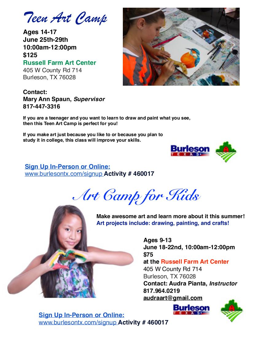 2 Flyers for Kids Art Camp 2018