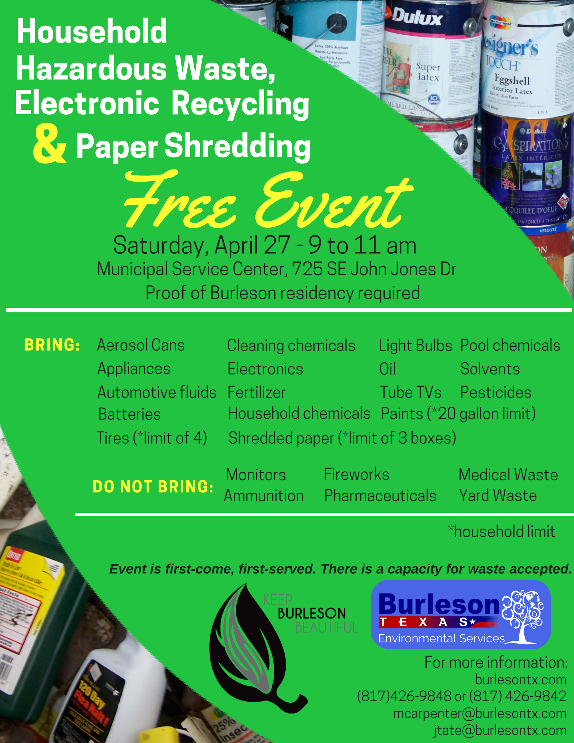 Household Hazardous Waste, Electronic Recycling, Paper Shredding