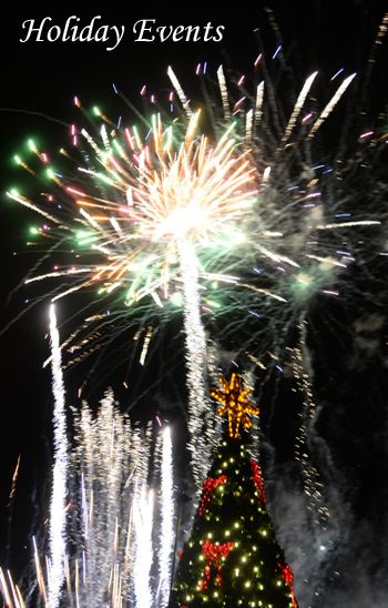 Christmas tree and fireworks with wording