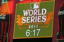 photo of clock at the Rangers World Series games
